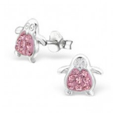 E0016P-PK  Sterling Silver Penguin Ear rings with crystal centre