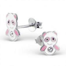 E00364-PK Sterling Silver Panda bear Ear rings