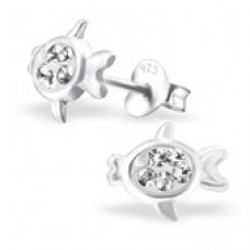 E0FN10-CR  Sterling Silver Fish Ear rings with crystal centre