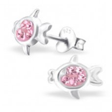 E0FN10-PK  Sterling Silver Fish Ear rings with crystal centre