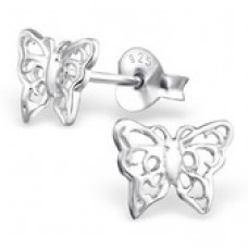 A01327-SS   925 Sterling silver LACY BUTTERFLY ear rings