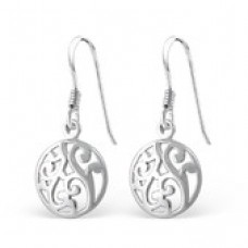 A01216-SS  Sterling silver lacy disk hook ear rings
