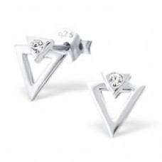 A06025-CR   925 Sterling silver TRIANGLE ear rings