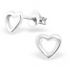 E01421-SS   Sterling Silver open Heart Ear Rings