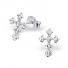 E00524-CR   Sterling Silver Tiny Crystal Cross Ear Rings