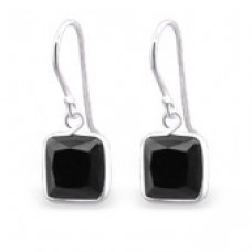 A009V2-BK  Sterling silver SQUARE CZ hook ear rings