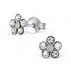 E01214-CR Sterling Silver Star stud Ear rings