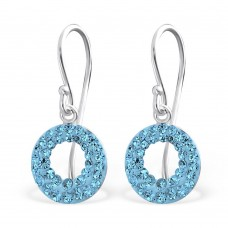 A01446-AQ   Sterling silver open crystal circle hook ear ring