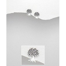 A17013-SS  Sterling silver tree of life ear ring