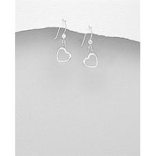 A23595-SS  Sterling silver Open Heart Hook ear ring