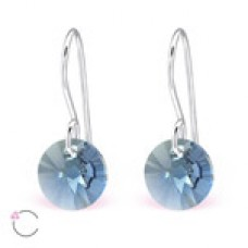 A06428-NV  Sterling silver Swarovski element hook ear rings