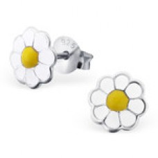 E00082-YE Sterling Silver multi color Flower Ear rings with epoxy