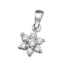 P00005-CR  Sterling Silver Flower Pendant Necklace with Crystals