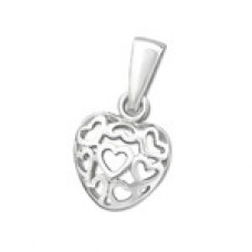 P00748-SS  Sterling Silver Heart  Heart Necklace