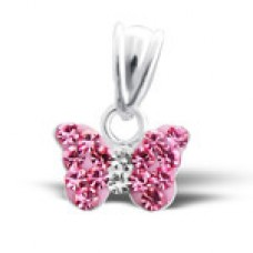 P01438-PK  Sterling Silver Crystal Butterfly Pendant Necklace