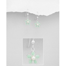 A00684-GR   Sterling Silver Drop Flower Ear rings