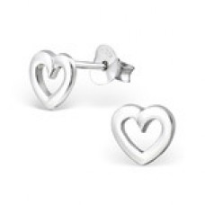 BB0002-SS Sterling Silver Open Heart Ear Rings