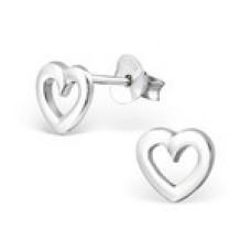 BB0002-SS Sterling Silver Open Heart Ear Rings