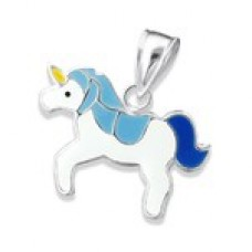 P01167-BL  Sterling silver unicorn pendant necklace