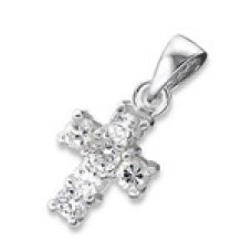 P00389-CZ   Sterling Silver Cross Pendant Necklace with CZ