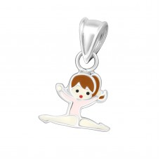P01717-PK   Sterling silver standing gymnast pendant necklace