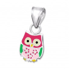 P02196-MX  Sterling silver owl pendant necklace