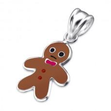 P00356-BR  Sterling silver Gingerbreadman pendant necklace