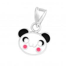 P00373-BK  Sterling silver panda bear face pendant necklace