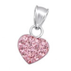 P00036-PK  Sterling Silver Crystal Heart Pendant Necklace