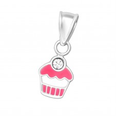 P00055-CR  Sterling Silver Cupcake Pendant Necklace with crystal cherry