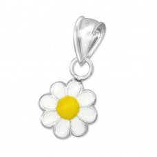 P00082-YE  Sterling Silver Flower Pendant Necklace