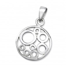 N01338-SS   Sterling silver circle circle pendant necklace