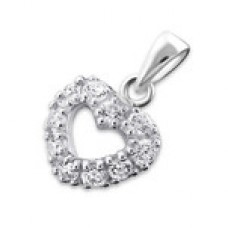 N00387-CR Sterling Silver Open Heart CZ Necklace