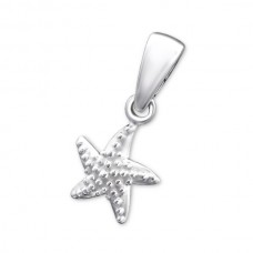 P06384-SS   Sterling Silver Star Fish Pendant Necklace