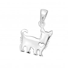 P09286-SS   Sterling silver Dog with heart pendant necklace