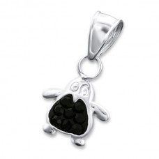 P00016-BK   Sterling Silver Penguin Pendant Necklace with crystals