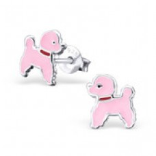 E01382-PK Sterling Silver Poodle Ear Rings with epoxy