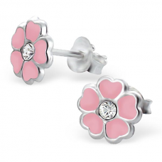 E00054-PK Sterling Silver Flower Ear rings with crystal and epoxy