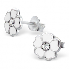 E00054-WH Sterling Silver Flower Ear rings with crystal and epoxy