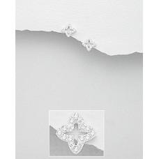 A17594-CR  Sterling silver CRYSTAL flower stud ear ring