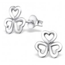 A06386-SS Sterling silver 3 heart flower ear rings