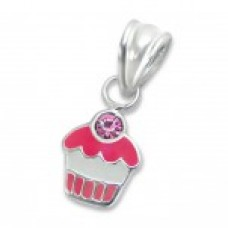 P00055-PK  Sterling Silver Cupcake Pendant Necklace with crystal cherry